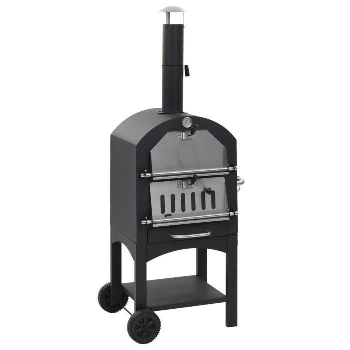 Four à pizza d'extérieur avec charbon gommage à la pierre - Noir - Grils électriques - grille-pains - Machines à pizza - Noir - Noir