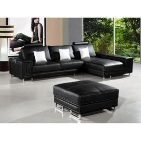 canap d 39 angle en cuir noir pouf design oxford achat vente canap. Black Bedroom Furniture Sets. Home Design Ideas