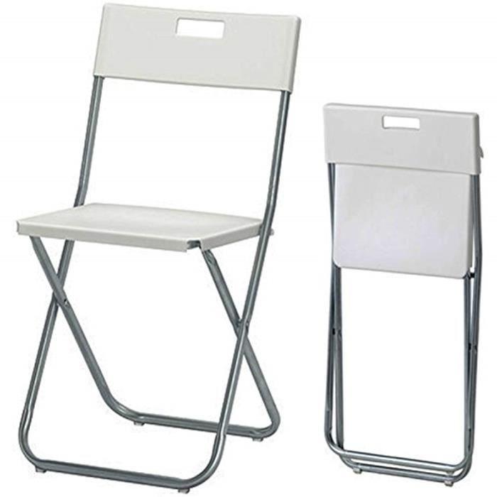 Ikea Gunde Chaise Pliante Blanc Achat Vente Chaise Cdiscount