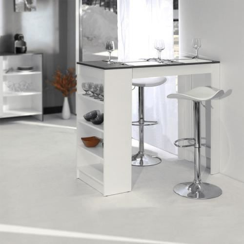 table de bar avec rangements blanc beton achat vente. Black Bedroom Furniture Sets. Home Design Ideas