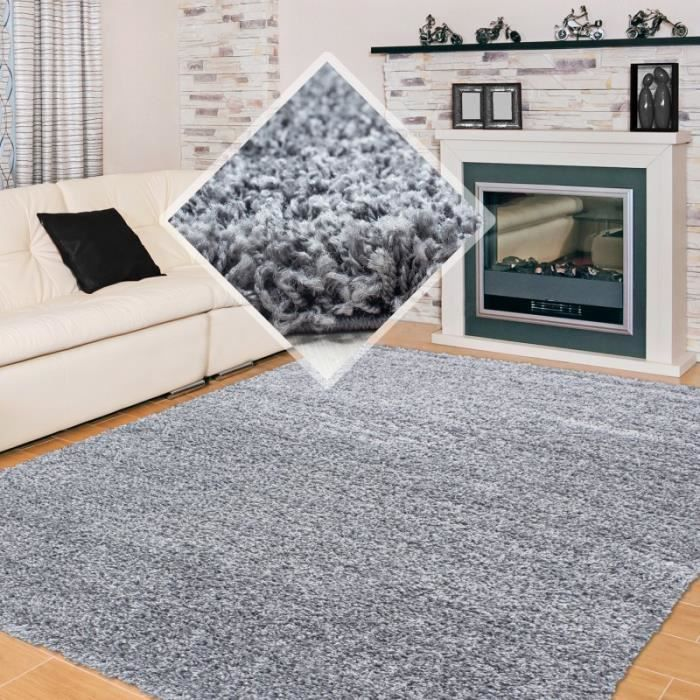 tapis shaggy pile longue couleur unique gris claire. Black Bedroom Furniture Sets. Home Design Ideas
