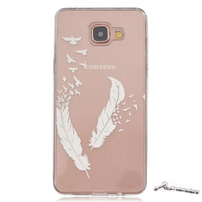 coque samsung galaxy a5 2016 sm a510 etui housse gel silicone transparent tpu plumes blanches. Black Bedroom Furniture Sets. Home Design Ideas