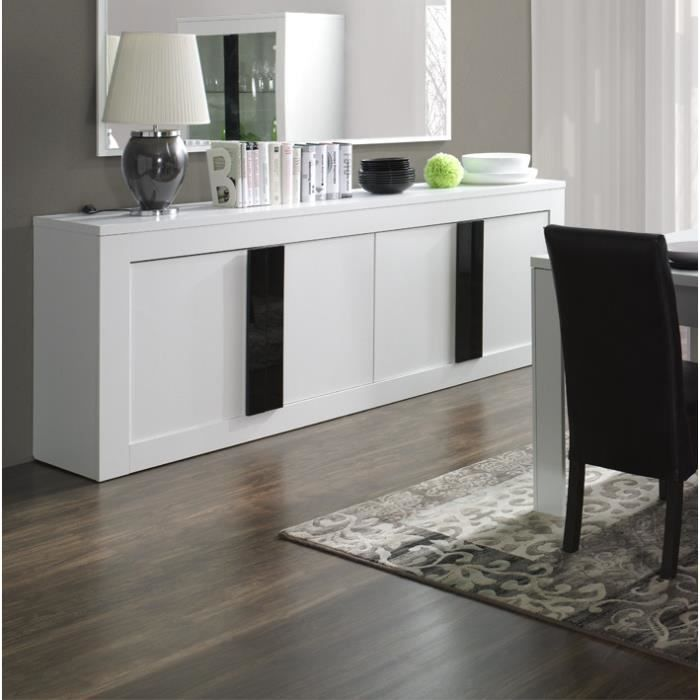 buffet bahut enfilade 4 portes alpens couleur blanc effet bois poign es noires laqu es. Black Bedroom Furniture Sets. Home Design Ideas