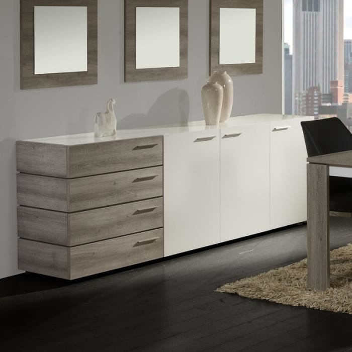 buffet bahut teint ch ne gris et blanc laqu wolf ch ne. Black Bedroom Furniture Sets. Home Design Ideas