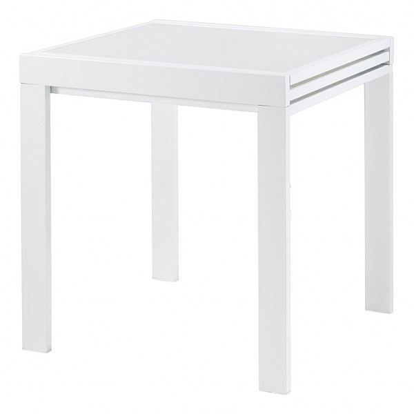 Table repas carr e 70 cm extensible julie blanc achat - Table extensible carree ...