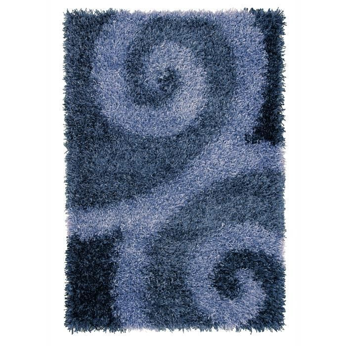 tapis shaggy a poils long vallee bleu 200x300 achat. Black Bedroom Furniture Sets. Home Design Ideas