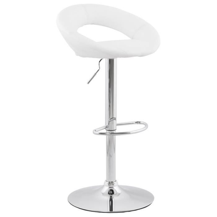 stool tabouret de bar blanc en simili cuir pu achat vente tabouret de bar blanc cdiscount. Black Bedroom Furniture Sets. Home Design Ideas