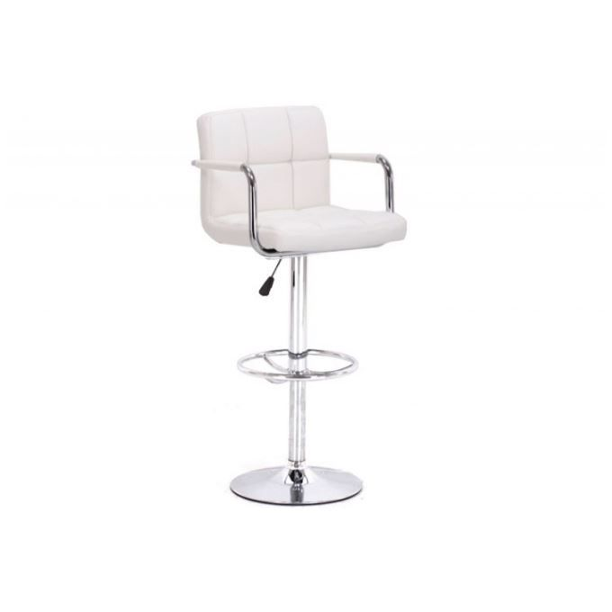 tabouret de bar capitonn blanc avec accoudoirs achat vente tabouret de bar blanc cdiscount. Black Bedroom Furniture Sets. Home Design Ideas