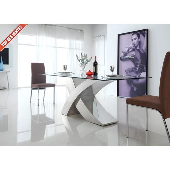table manger en verre design xena la table achat. Black Bedroom Furniture Sets. Home Design Ideas
