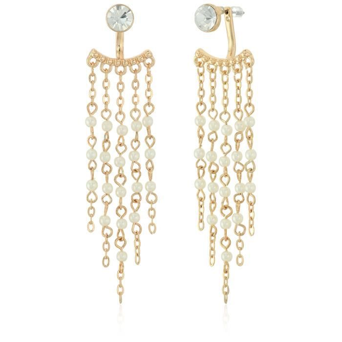 Guess Womens Long Fringe With Stones Drop Earrings NU6VN