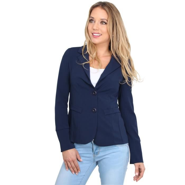 femme veste blazer cintr e bleu marine achat vente veste blazer dos ouvert mousseline. Black Bedroom Furniture Sets. Home Design Ideas