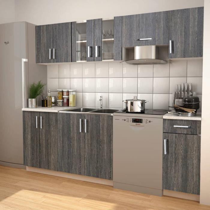 Meubles de cuisine 7 pcs avec hotte Aspect wengé | Gris - Armoires et meubles de rangement ...