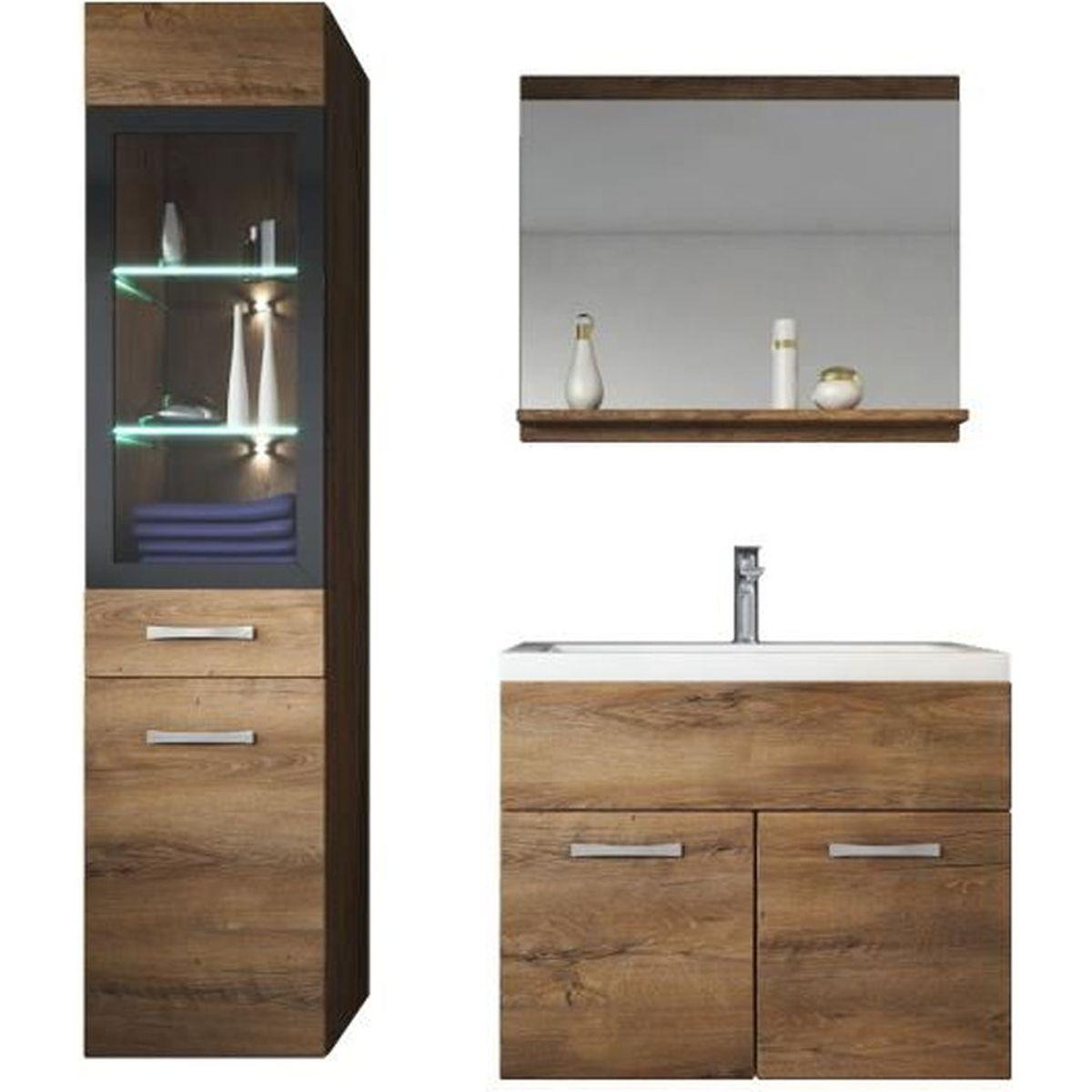 Meuble Salle De Bain Girona meuble salle de bain avec vasque marron
