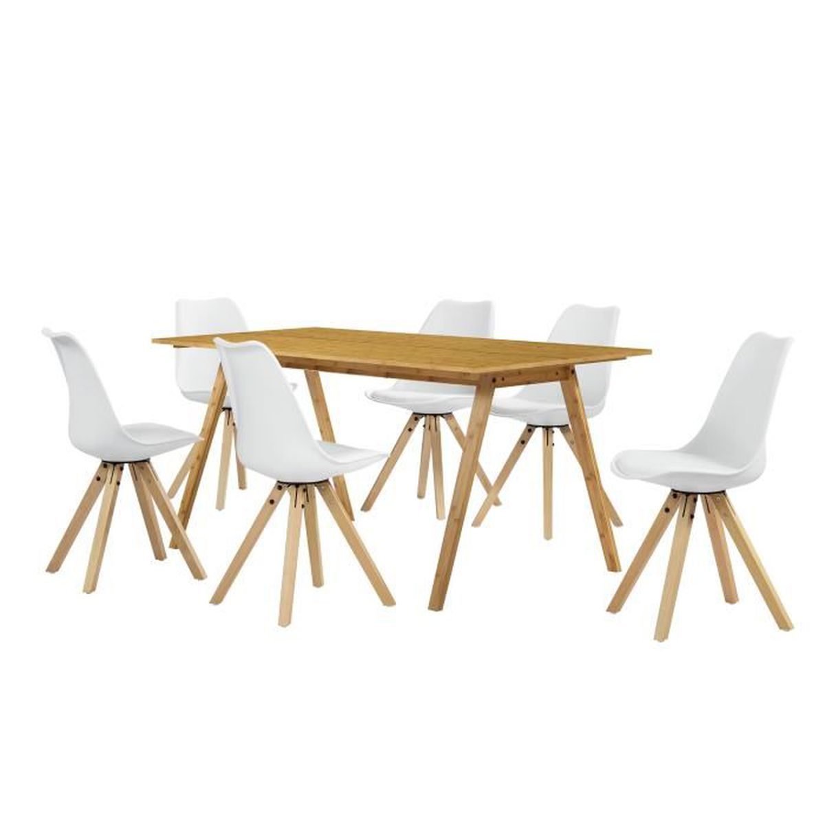 Table manger bambou avec 6 chaises blanc for Table a manger chaises