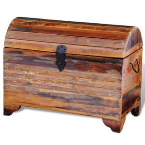 COFFRE - MALLE  Coffre de stockage en bois solide recycle