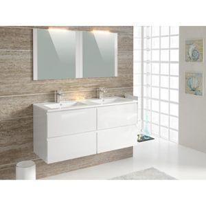 FIDJI Meuble de salle de bain blanc brillant - L 120 cm