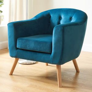 fauteuil scandinave en velours bleu paon collection volga achat vente fauteuil velours. Black Bedroom Furniture Sets. Home Design Ideas