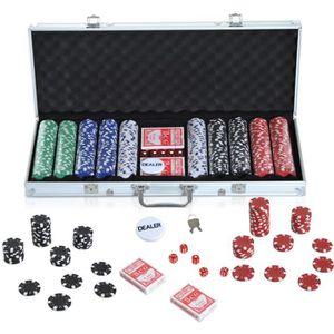 MALETTE POKER Malette professionnelle de Poker 500 jetons 2 jeux