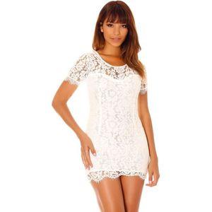 ROBE Miss Wear Line - Robe blanche à dentelle sans manc