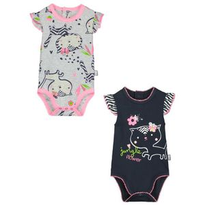 b6c8fbe29bb0a BODY Lot de 2 bodies manches courtes bébé fille Jungle