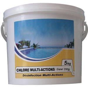 TRAITEMENT DE L'EAU  Chlore lent multi-fonctions galet 250g 5kg