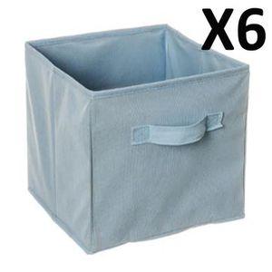 CASIER POUR MEUBLE Lot de 6 Paniers cube de rangement pliable bleu cl