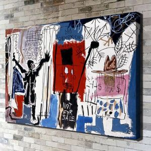TABLEAU - TOILE Jean-Michel Basquiat Abstract Person Graffiti Pein