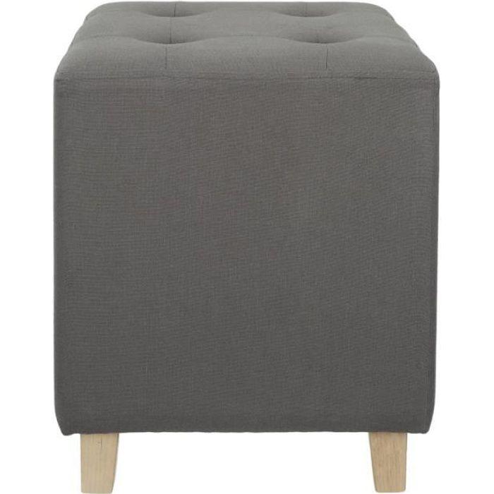Poufs fauteuils et chaises - Pouf carré - Hyppolyte - 35 x 35 cm - Gris