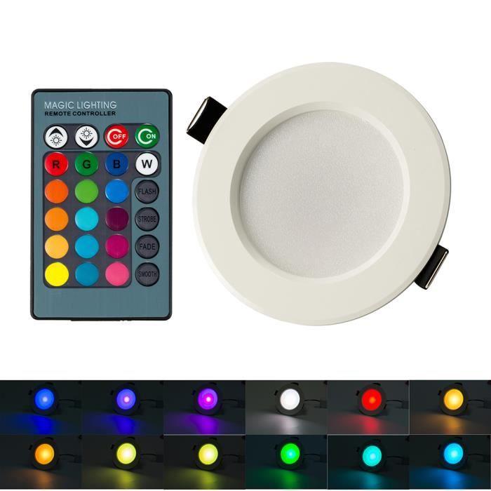 BLOOMWIN Spot Encastrable LED 5PCS MINI Lampe Plafonnier 3W RGBW Dimmable avec Télécommande Eclairage Intérieur pour Chambre Salon