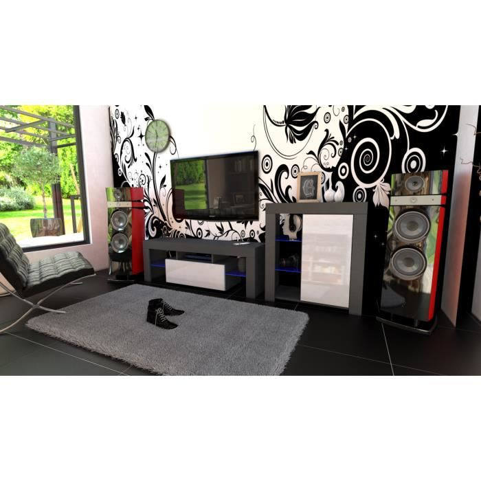 Ensemble de meubles noir mat et façades laquées blanc + led RGB