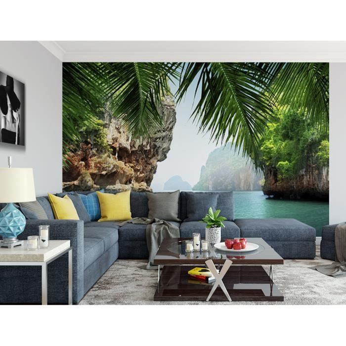 Papier peint finition satiné pré-encollé -Trompe l'œil rocher tropiques- L, 411 x H, 270 cm