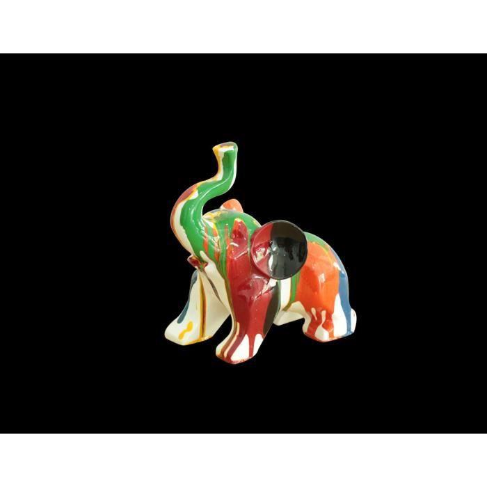 Statue petit éléphant - couleurs dominantes orange & bleu - objet decoration moderne