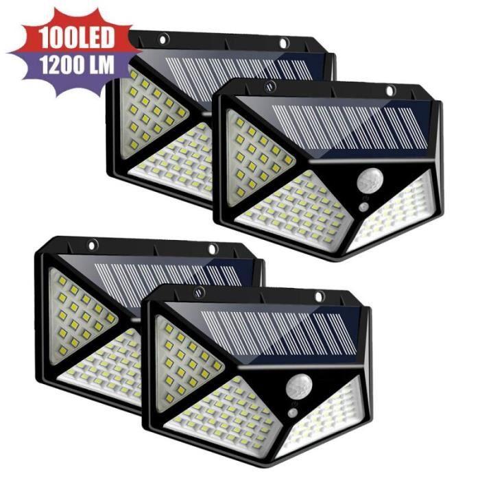 1-2-4 pièces lampe solaire 100 LED lampe murale solaire avec capteur de mouvement PIR IP65 étanche lampes solaires po - 1Pcs -