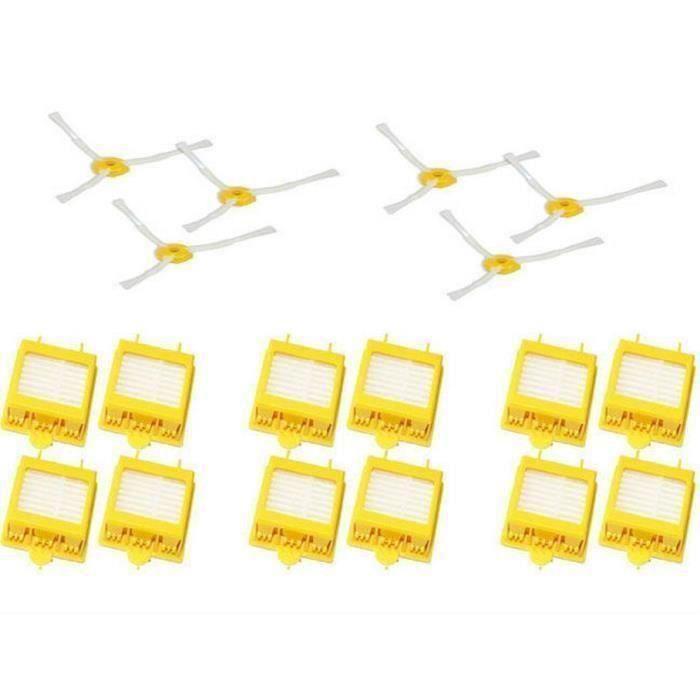 De 12 Filtres HEPA + 6 3-Bras Brosse Latérale Pour iRobot Roomba série 700(760 770 780 790)