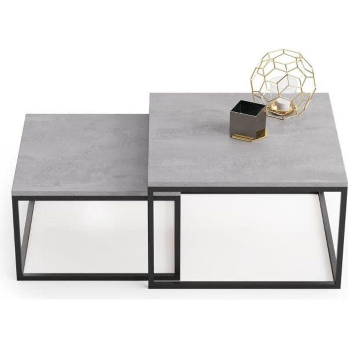 Lot de 2 tables basses gigognes twin design industriel, imitation béton
