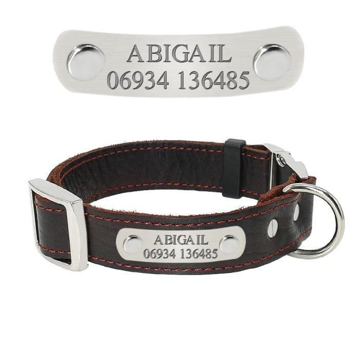 Laisses Colliers,Colliers en cuir véritable pour chiens Colliers personnalisés, plaque de nom de chien pour chiot- Type Brown-S
