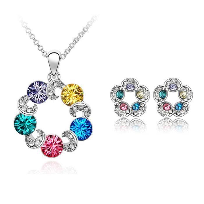 coloré Cristal Swarovski Elements Fleur Pave Collier plaqué or et boucles d'oreilles Ensemble de bijoux