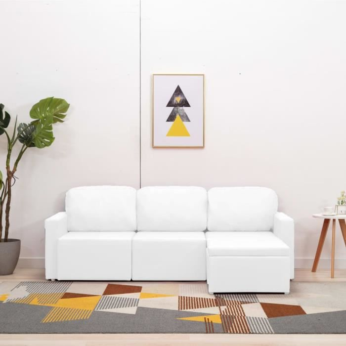 Canapé-lit modulaire 3 places Blanc Similicuir -PAI