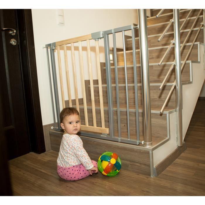 Barrière de sécurité Lola 73-82,5cm (ext.jusqu'à 138,5cm)en bois + métal, grise
