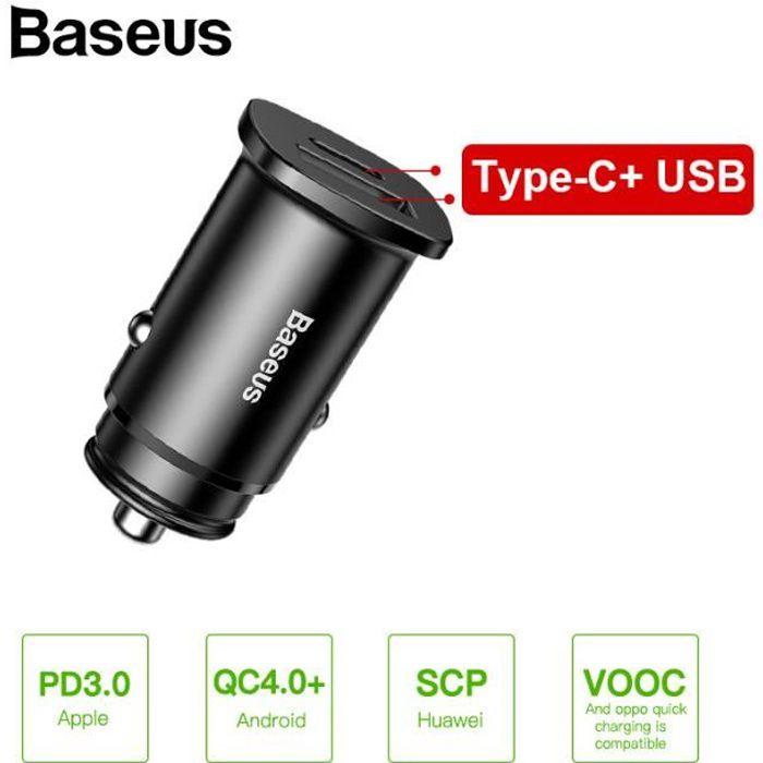 Baseus 30W Double USB C PD Charge Rapide QC 4.0 Chargeur De Voiture Pour Chargeur De Téléphone Portable Rapide USB PD Type C