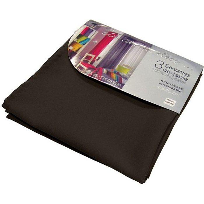 Lot de 3 serviettes de table ESSENTIEL noir