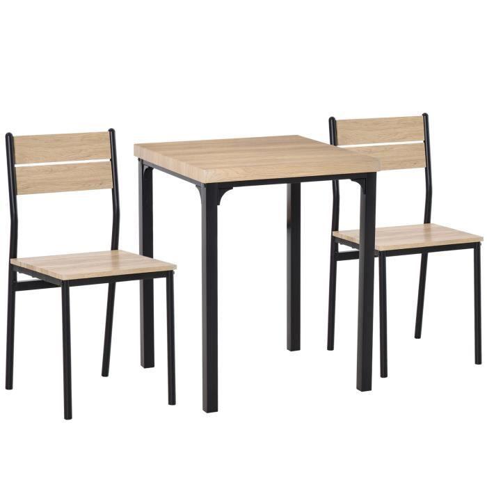 Table avec 2 chaises style industriel acier noir MDF coloris bois de chêne 60x60x76cm Gris