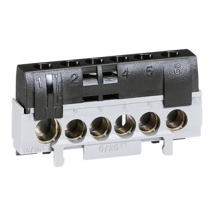 Legrand Bornier de phase 5 bornes pour câble 6 à 25 mm2 + 1 borne pour câble 10 à 35 mm2