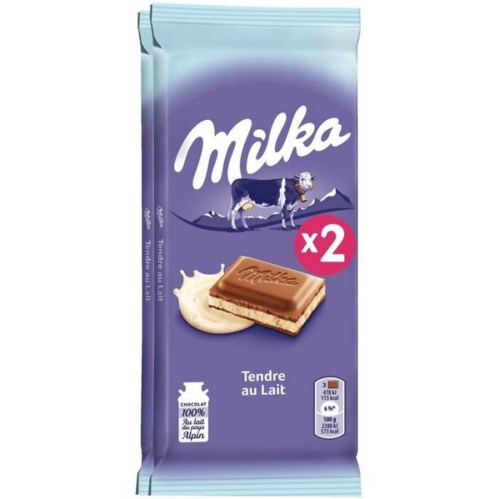 Milka Tendre au Lait 2x100g (lot de 6 soit 12 tablettes)
