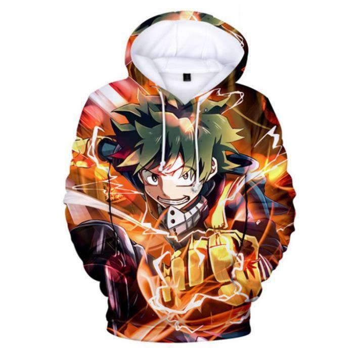 SWEAT-SHIRT Mixte - Sweatshirt à capuche imprimé mode My Hero Academia Adulte - orange YG™