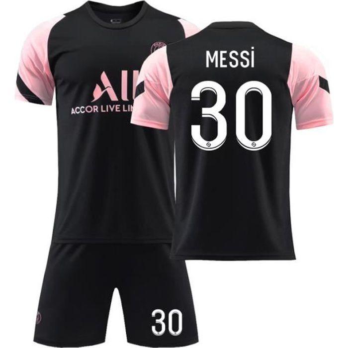 Maillot de Football 2122 T-Shirt de l'équipe Paris-Messi 30 Tenue de Training Noir Tenue de Formation Respirant pour Junior Enfant