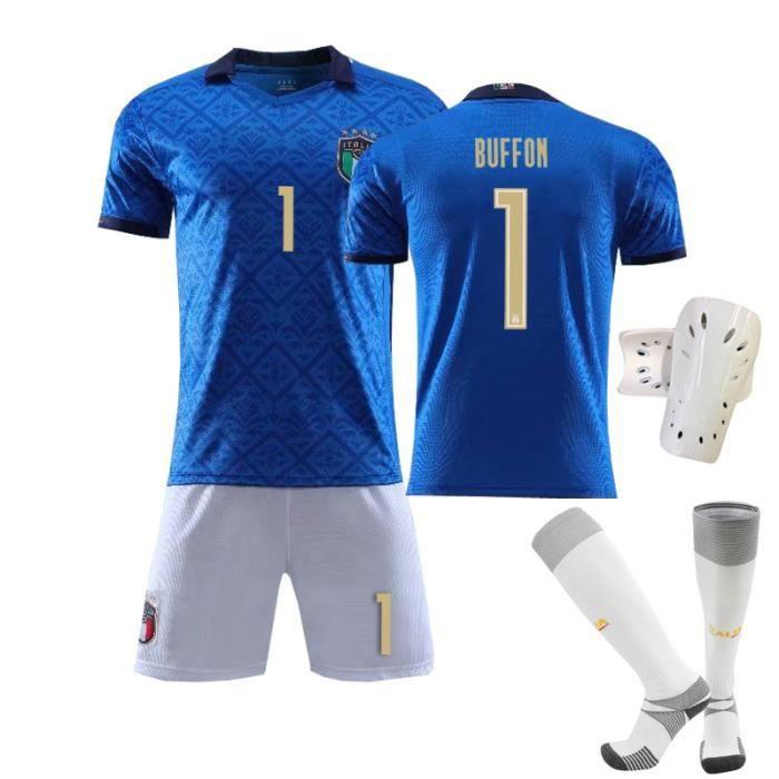 Maillot de Football Italie Domicile 2020-2021 1 Buffon Collection d'Italie Bleu Tenue + Chaussette + Support Protection pour Adulte