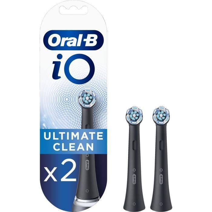 Oral-B iO Ultimate Clean Brossettes de Rechange, Brosse à Dents Électrique, Elimination de la plaque dentaire, Noir, Pack de 2