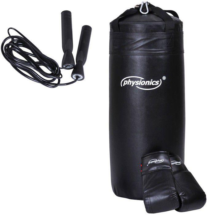 Physionics® Sac de Frappe pour Enfants - Rempli, avec Gants, Mousqueton et Corde à Sauter - Sac de Boxe Junior, Punching Bag