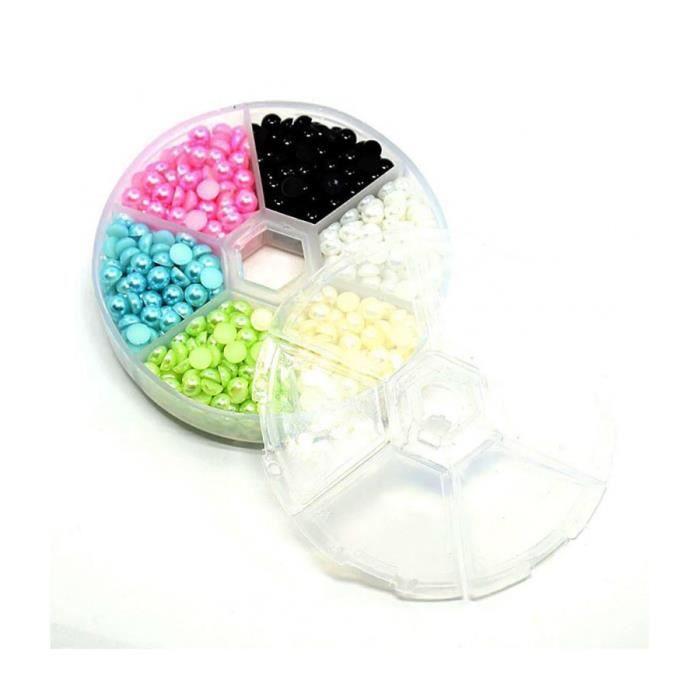 Accessoires création kit cabochons perles nacrées pastels 5 x 2,5 mm 990 pièces Multicolore